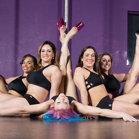 Posing pole dancers